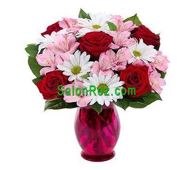 """""""Букет из 5 роз, 3 хризантем и 3 альстромерии"""" в интернет-магазине цветов salonroz.com"""
