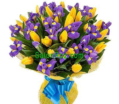 """""""Букет из 25 тюльпанов и 20 ирисов"""" в интернет-магазине цветов salonroz.com"""