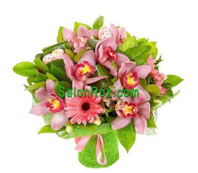 """""""Букет цветов из 7 орхидей, 3 гербер, 5 альстромерий"""" в интернет-магазине цветов salonroz.com"""