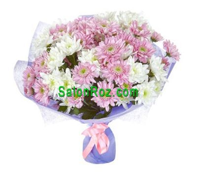 """""""Букет из 17 белых и розовых кустовых хризантем"""" в интернет-магазине цветов salonroz.com"""