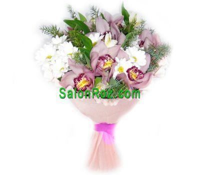 """""""Букет из 7 орхидей и 4 хризантем"""" в интернет-магазине цветов salonroz.com"""