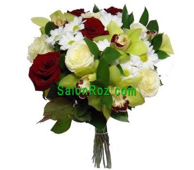 """""""Букет из 5 орхидей, 3 хризантем и 9 роз"""" в интернет-магазине цветов salonroz.com"""