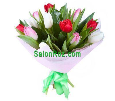 """""""Букет из 13 разноцветных тюльпанов"""" в интернет-магазине цветов salonroz.com"""
