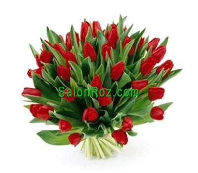 """""""Букет из 45 красных тюльпанов"""" в интернет-магазине цветов salonroz.com"""