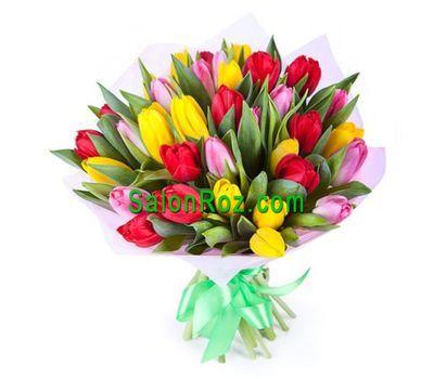"""""""Букет из 37 разноцветных тюльпанов"""" в интернет-магазине цветов salonroz.com"""