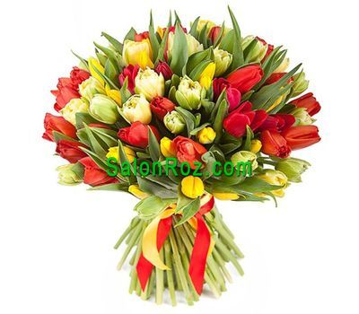 """""""Букет из 101 разноцветных тюльпанов"""" в интернет-магазине цветов salonroz.com"""