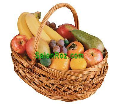 """""""Фруктовая корзина с виноградом, бананами, грушами, яблоками, апельсинами."""" в интернет-магазине цветов salonroz.com"""
