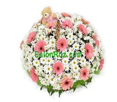 """""""Корзина цветов из 18 хризантемы и 19 гербер"""" в интернет-магазине цветов salonroz.com"""