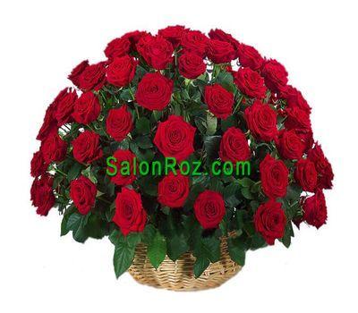 """""""Корзина из 55 красных роз"""" в интернет-магазине цветов salonroz.com"""