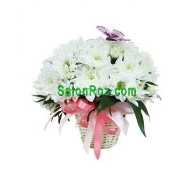 """""""Корзинка цветов из 5 белых хризантем"""" в интернет-магазине цветов salonroz.com"""