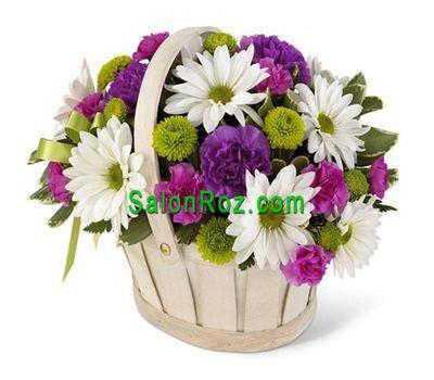 """""""Корзинка цветов из 9 гвоздик и 10 хризантем"""" в интернет-магазине цветов salonroz.com"""